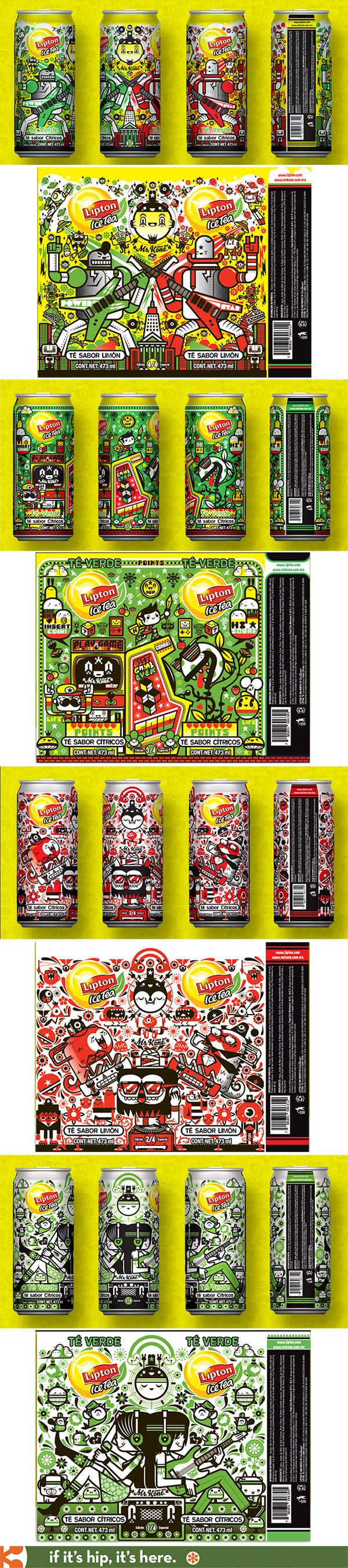 Fabulously illustrated Lipton Ice Tea cans by Mr. Kone to introduce it to the Mexican market.