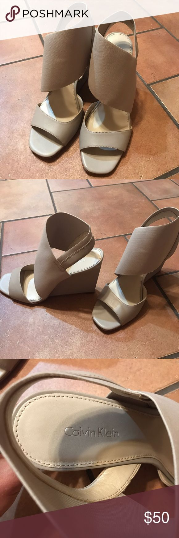 Calvin Klein wedges EUC only worn once. Light gray/taupe Calvin Klein summer wedges. Size 9 Calvin Klein Shoes Wedges