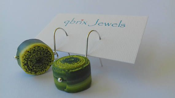 Unique sterling silver earrings of polymer clay spiral shaped