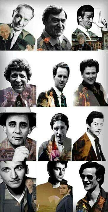 The Doctors- #1-11 William Hartnell, Patrick Troughton, Jon Pertwee, Tom Baker,  Peter Davison, Colin Baker, Sylvester McCoy, Paul McGann, John Hurt ( doctor #0 war doctor) Christopher Eccelston,  David Tennant, Matt Smith