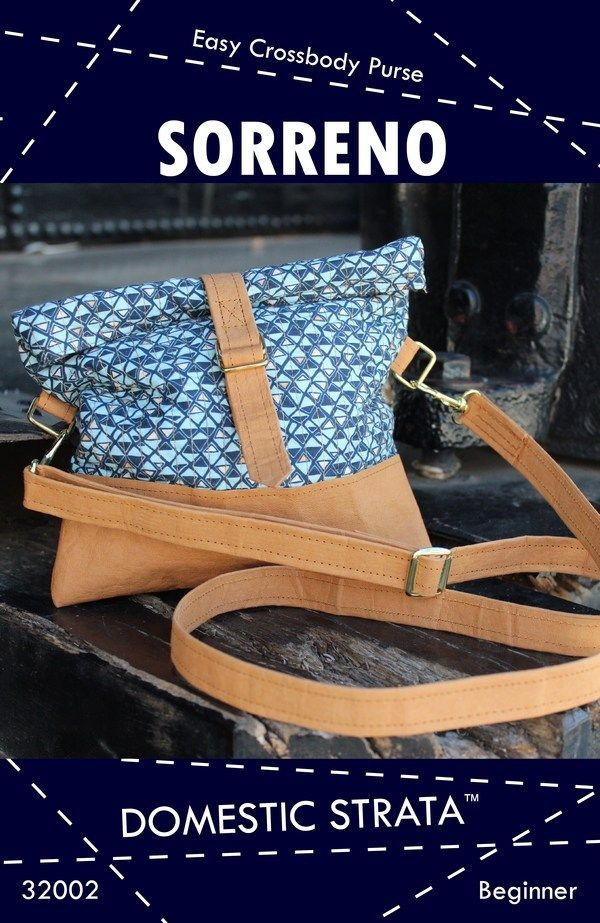 Kraft-tex friendly pattern Sorreno Crossbody Purse Pattern by Domestic Strata