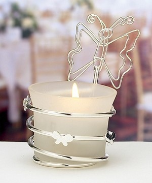Butterfly Wedding Favour Candle & Place Card Holder