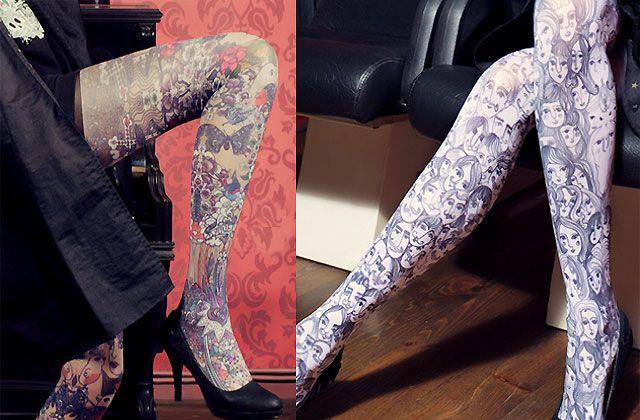 Marie Antoilette est une toute jeune marque de collants qui propose des chouettes imprimés façon illustrations ou tatouages !