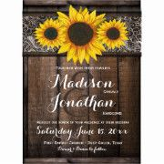 Rustic Country Sunflower Wedding Invitation Template on a dark wood background. Just change the wording to make it your own. The top features a beautiful collection of three hand drawn sunflower designs on a vintage style lace border pattern. The background of the invitation is a dark wood board design. Printed on your choice of paper.