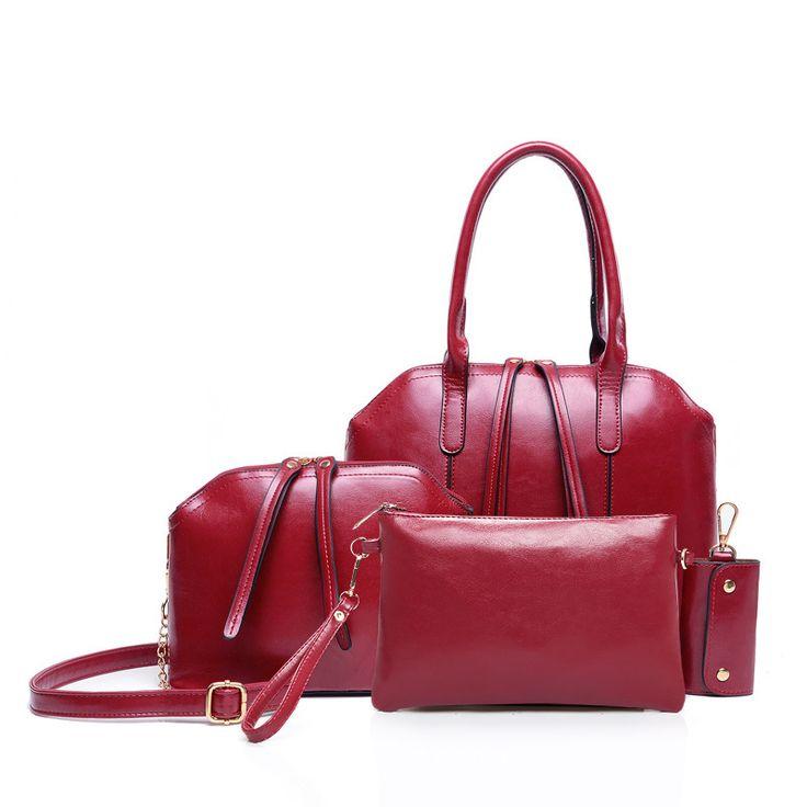 2015 Wax Oiled PU leather Women Handbag Crossbody Shoulder Bags Handbag+Messenger Bag+Purse+Wallet Bolsas Femininas 4pcs/set