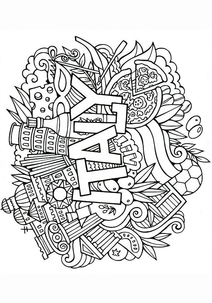 Raskraska Antistress Italiya 700x1000 Colouring PagesColoring BooksDoodle