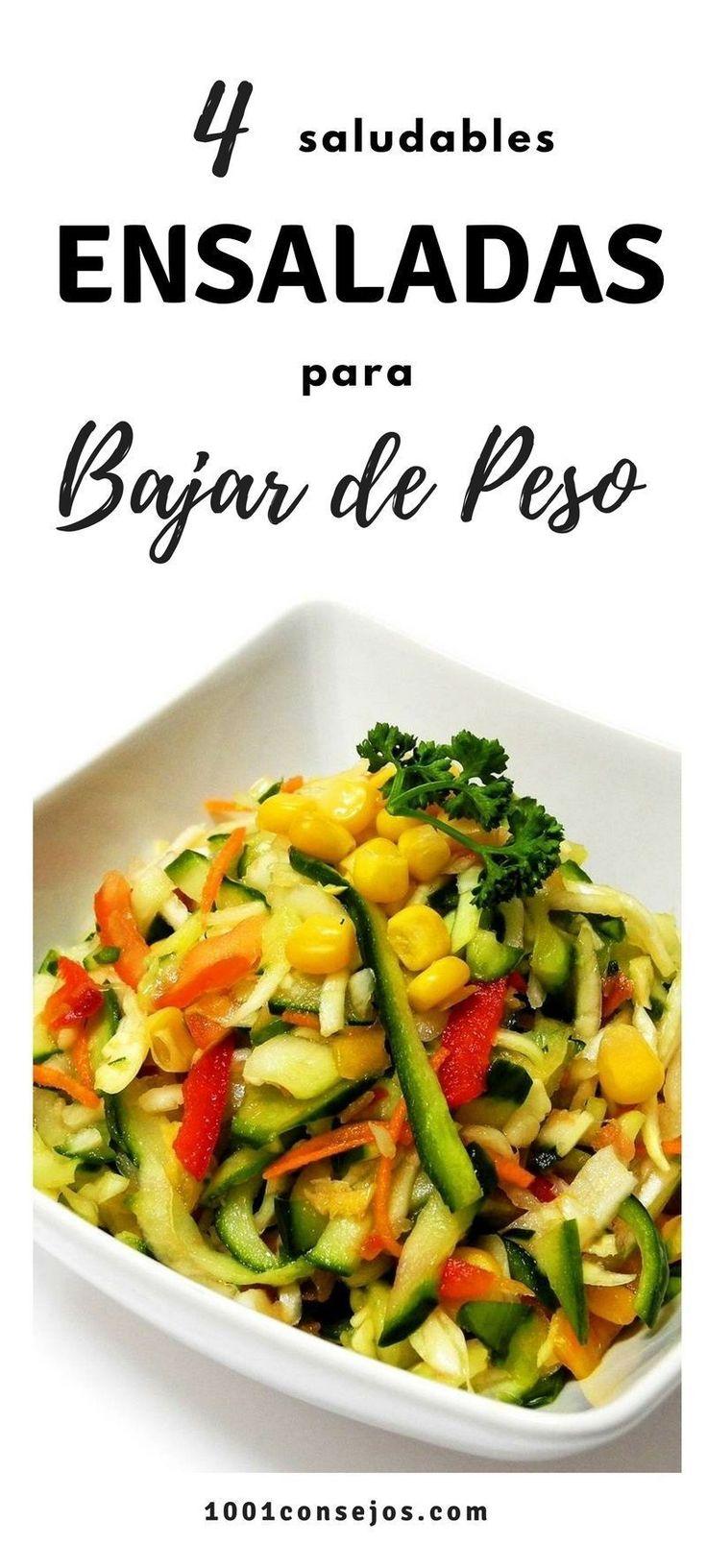 Aprende cómo preparar estas 4 deliciosas ensaladas para adelgazar. Son saludables y muy fáciles de preparar. | Dietas para bajar de peso | #fitness #ensaladas #recetasfáciles #dietasana