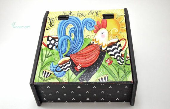 """Welcome to Woody Gift! We offer only UNIQUE HANDMADE ITEMS!  Charming Wooden Tea Box """"Happy Hen"""". Will give warm and comfortable atmosphere to your"""
