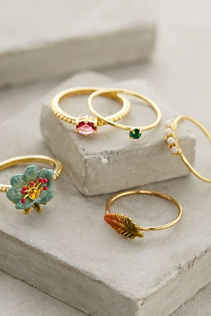 Sous-Bois Stacking Rings | Anthropologie | Wish I could buy just two of these rings...
