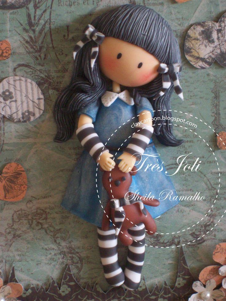 Cold porcelain girl porcelana fria polymer claymasa flexible pasta francesa fimo topper fondant figurine