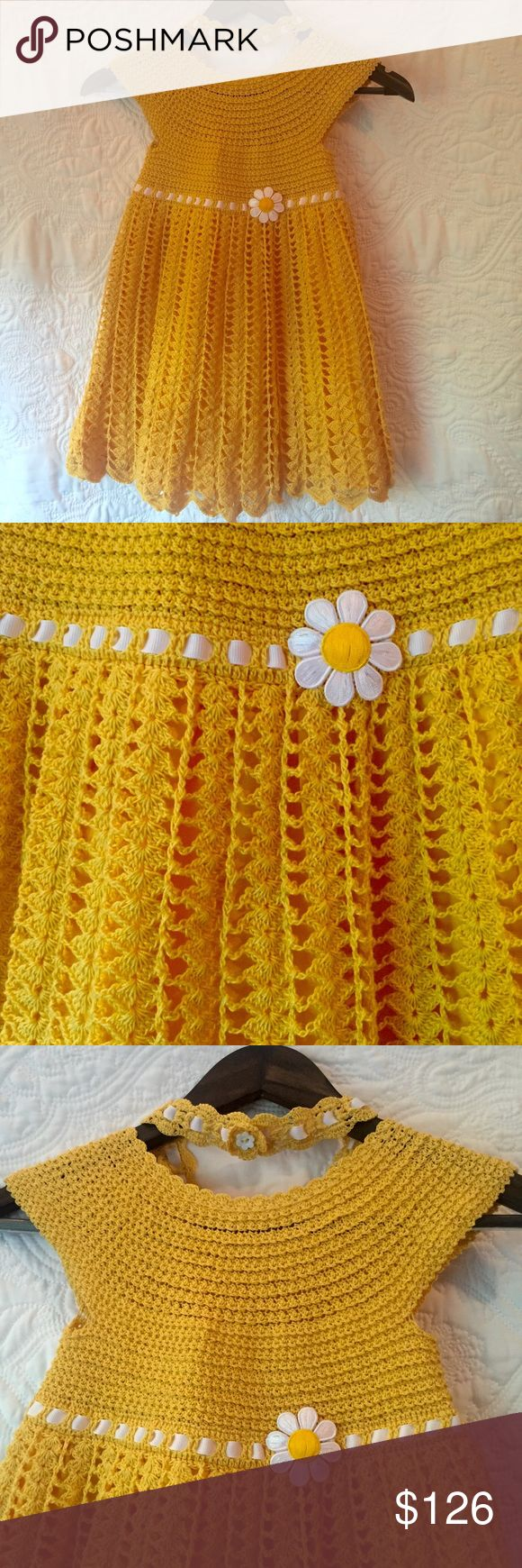 """Handmade Crochet Girl's Dress 😍 Beautiful Handmade Crochet Girl's Dress. Yellow w/ white ribbon detail & a matching headband. Length from shoulder to hem is approx. 23""""in, width at empire waist is 11"""" across or 22""""in total. Nice lining under skirt. Dress is a work of art! Great for a photo session as we end this summer season. Please let me know if you have any other questions I can answer. No tags, but it is NEW & never worn, created solely for purpose or selling on Poshmark. One of a…"""