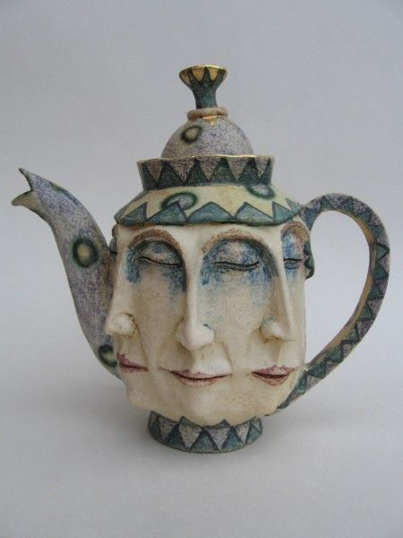 """Ceramic tea pot by: Amanda Popham.  Reminds me of something that would be from """"Alice in Wonderland"""""""