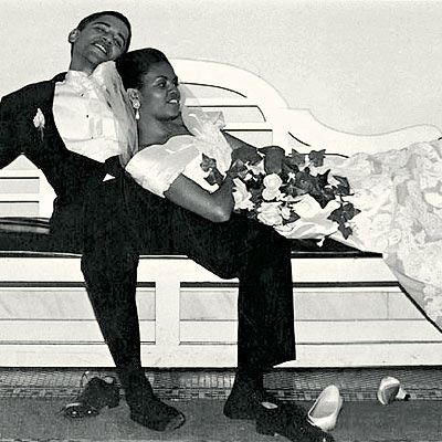President Barack and Michelle Obama on their wedding day in 1992
