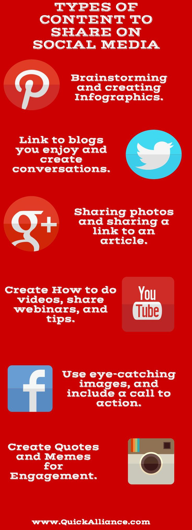 Types of Content to share on Social Media http://www.quickalliance.com/types-of-content-to-share-on-social-media/