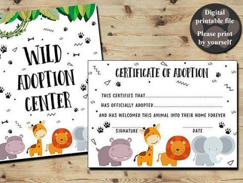 Wild Animal Adoption Certificate Certificate Of Adoption Adopt Animal Jungle Pet Shop Zoo Safari An Wild Birthday Party Adoption Certificate Zoo Birthday Party