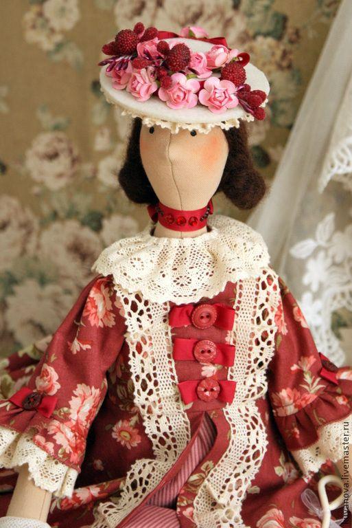 Купить Чай с вареньем - бордовый, тильда, тильда кукла, интерьерная кукла, текстильная кукла, подарок