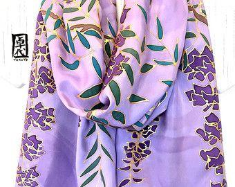 De seda pintado a mano bufanda, bufanda Reversible grande, púrpura y gris Wisteria Kimono bufanda, Takuyo, 15 x 72 pulgadas, hechos a la medida