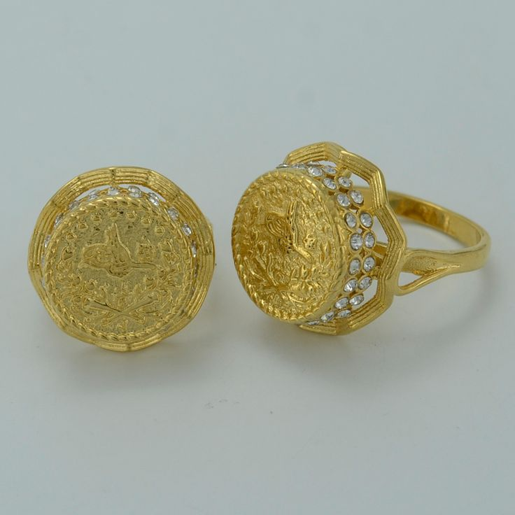 1 piece / NEW Gold Coin Ring for Women,Arab Coin Rings for Girl - Yellow Gold Plated Turks Coins Jewelry Turkey Items #003212