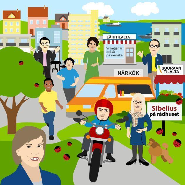 RKP:n ihannekunta kuntavaalit - illustration @ Stina Tuominen