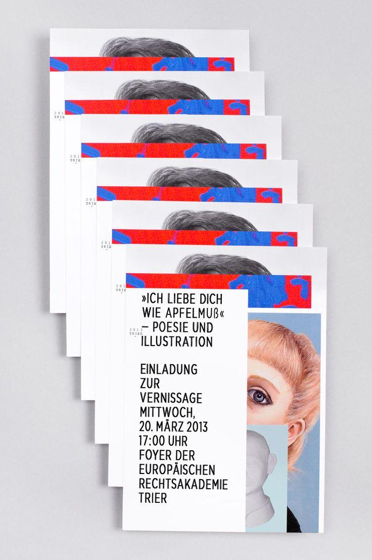 TITEL/TITLE: Ich liebe Dich wie Apfelmuß  JAHR/YEAR: 2013 KUNDE/CLIENT: BB Schönfelderhof MEDIUM/MEDIA: Einladungskarte/Invitation, Poster, Künstlerkatalog/Catalog AWARD: Designpreis Rheinland-Pfalz; Gewinner/Winner Editorial Design, German Design Award; Winner Gold 2016 »Excellent Communications Design«  In diesem Jahr wurden wir erneut mit der Gestaltung der Print- medien zur Outsider-Art-Ausstellung »Ich liebe dich wie Apfelmuß«  beauftragt. Neben der Einladungskarte und Postern…