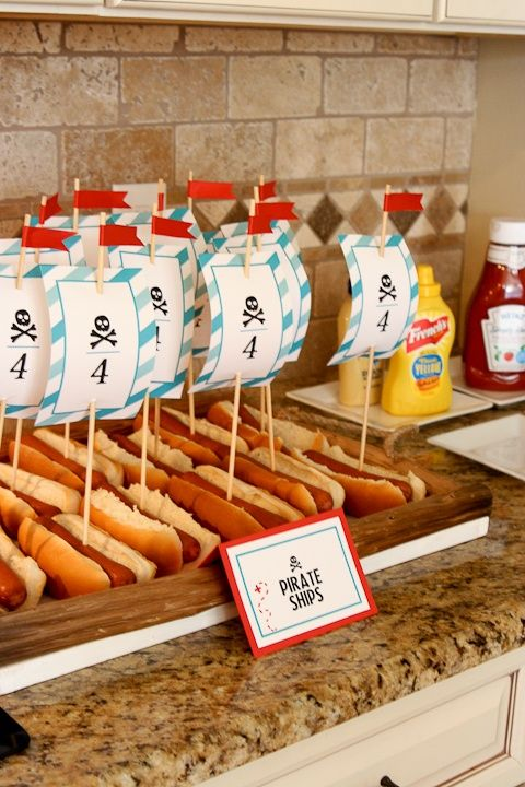 Pirate Birthday -- Pirate Ship Hot Dogs (image only)