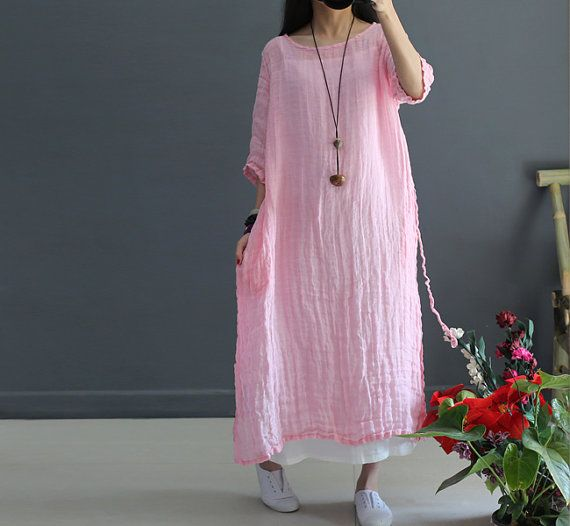Short sleeve transparent linen long dress wrinkle by FashionGD