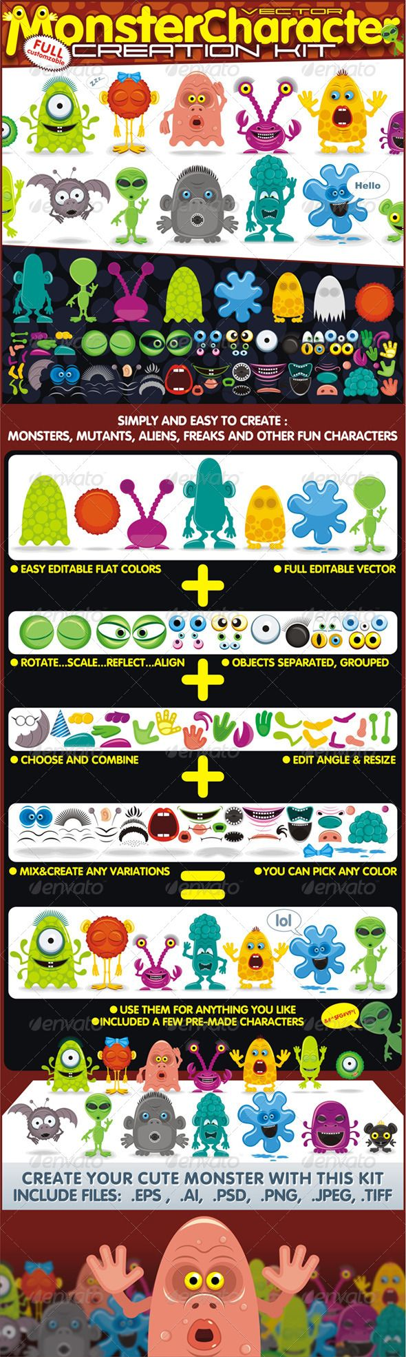 Monster or Creatures Creation Kit  #GraphicRiver         Characters, Monsters or Creatures Creation Kit. Create your own Cartoon Characters with Unlimited