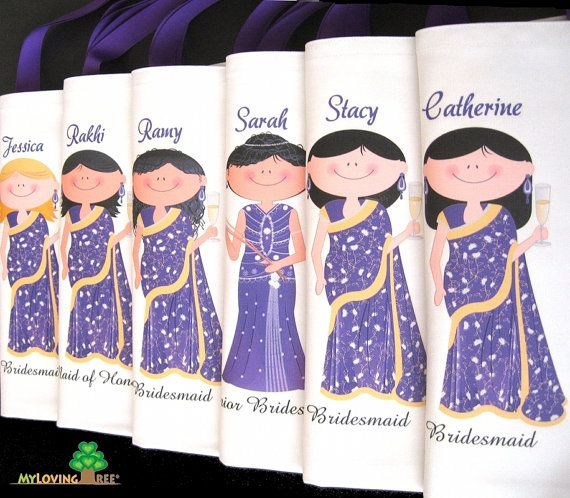 Personalized Indian brides and bridesmaids sari wedding gifts bags or bridal shower party or wedding give away favors totes