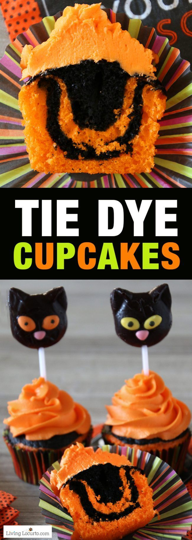 Halloween Cupcakes an Easy Tie Dye Cake Recipe. Turn your Halloween cupcakes into the most spooktacular treats by making tie dyed cake. Orange and black tie dye cupcakes with black cat lollipops.