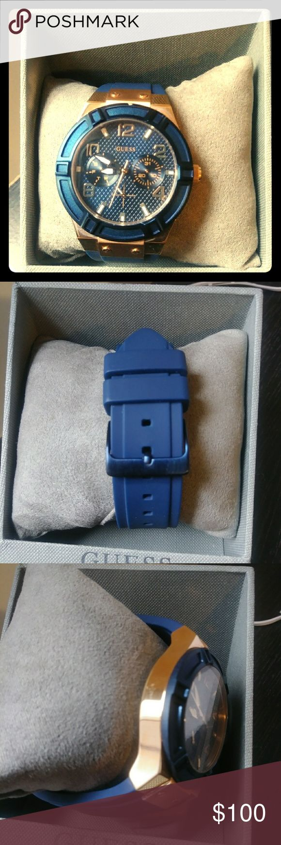 Guess women watch -Rose Gold Case with blue top ring -Blue silicone strap -Water resistant up to 100 M/ 330 Ft -Multifunctional Day/Date Has a few scratches Guess Jewelry