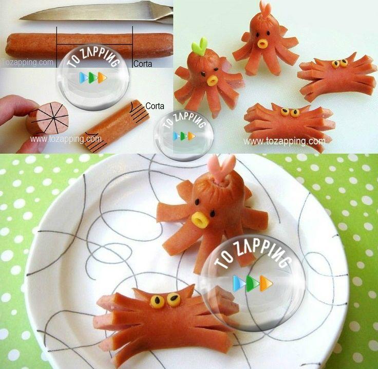 Cómo hacer pulpos y cangrejos con salchichas