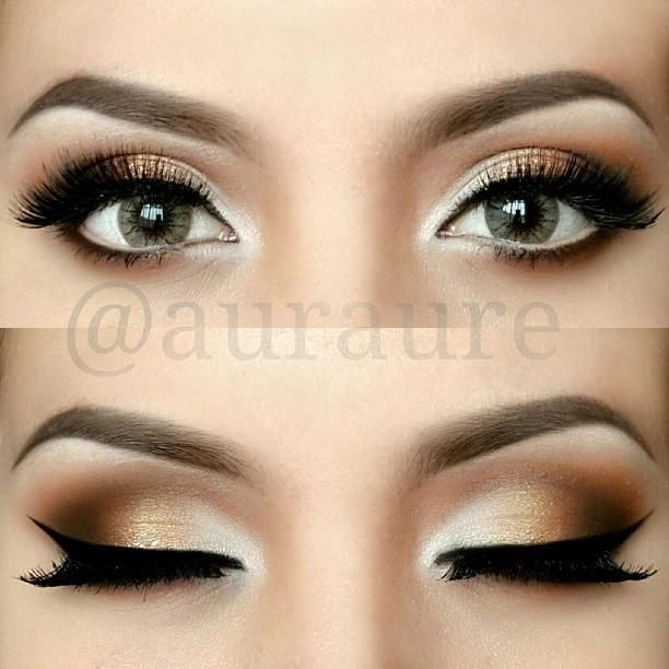 bronze makeup fro eyes, would look nice with navy ball/ prom dress