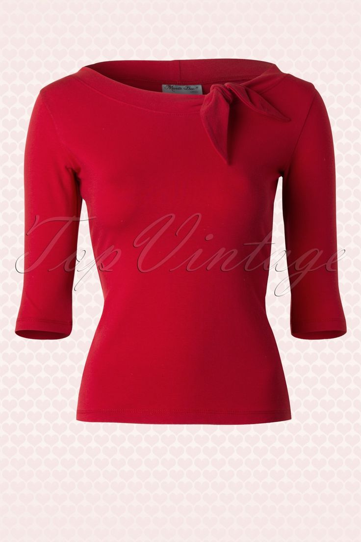 Heart of Haute - 50s Lily Bow Top in Red