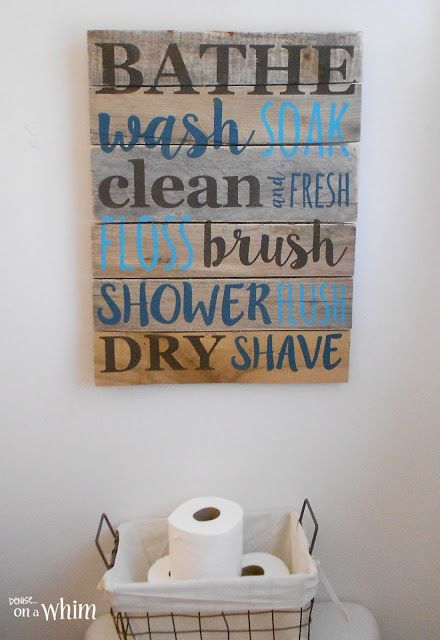 Bathroom Pallet Sign And Wire Basket For Toilet Paper Vintage Farmhouse Bathroom Makeover Denise