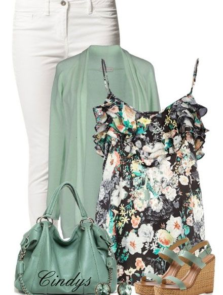 Spring 2014 Fashion Trends | Black Floral Cami Top & Jeans - Spring Fashion Outfits for Women