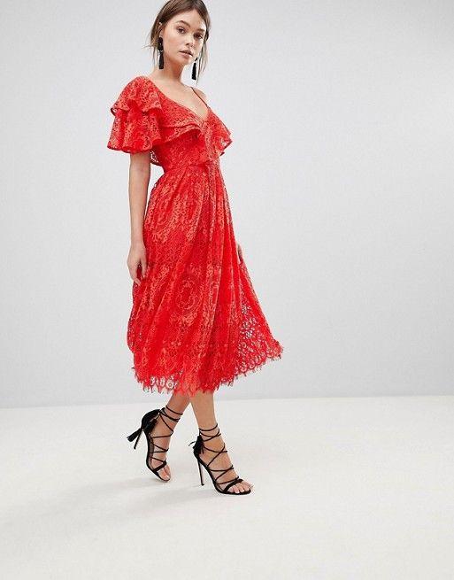 3ed77b08aa4 Ruffle One Shoulder Lace Prom Dress