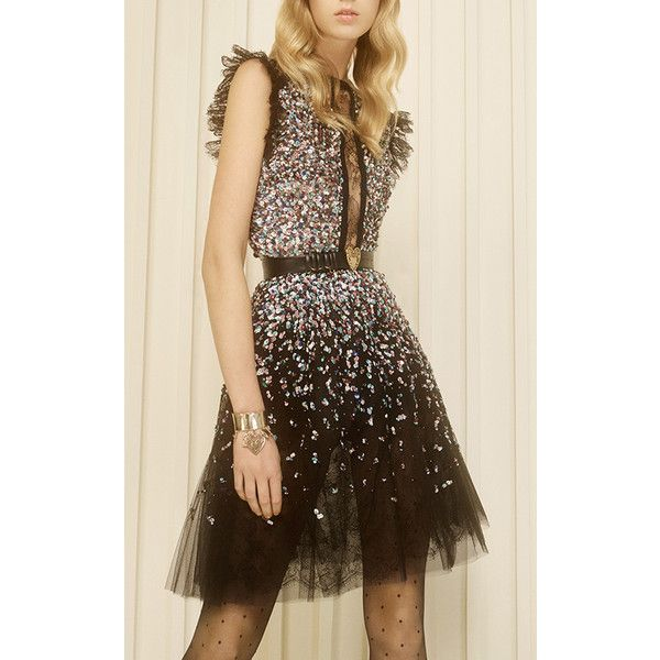 Beaded Embroidered Tulle Dress | Moda Operandi ❤ liked on Polyvore featuring dresses, embroidery dresses, brown sequin dress, brown dress, beaded dress and embroidered tulle dress