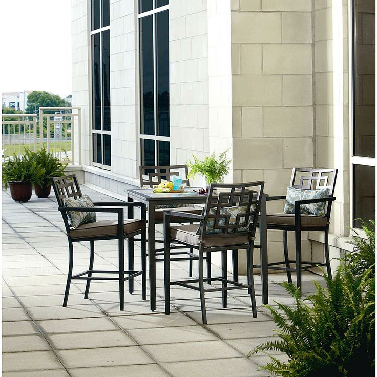 jefferson 5 piece cushion high dining set outdoor living patio