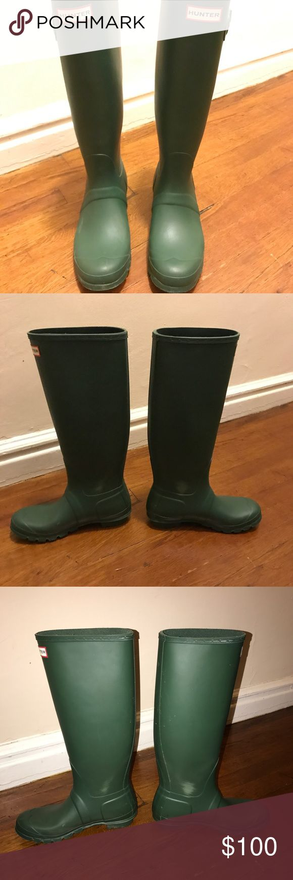 "Tall Hunter Rain-boots Green Size 8 Gently used tall dark green Hunter Wellies! Great condition, no real damage to report. They are 17"" tall and the opening at the top is 6.5"" across. Super comfy and size 8 US (39 EU). Bought for $150 one year ago! Worn less than 5 times. Hunter Boots Shoes Winter & Rain Boots"