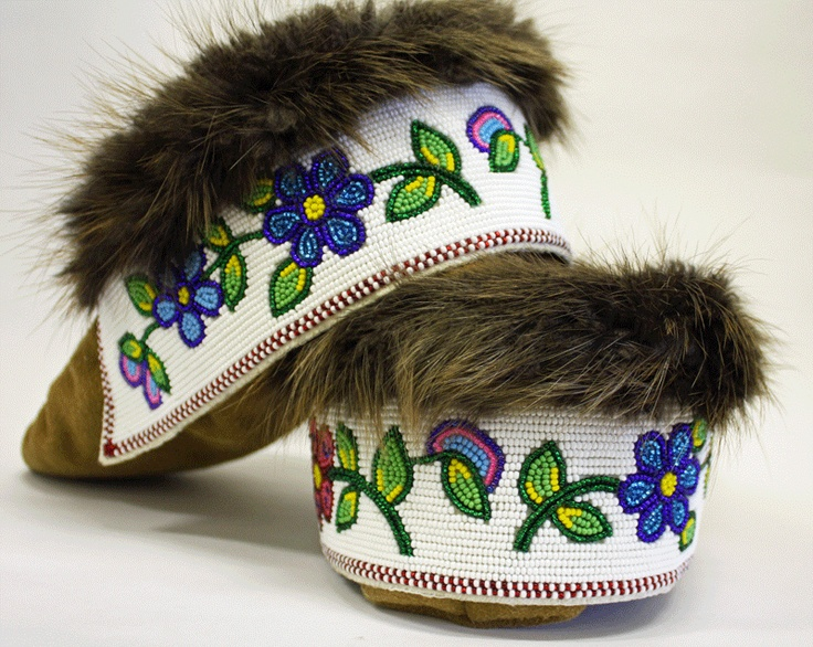 Beaded Moose hide Moccasins, made by an Elder, of the Tlicho from Behchoko NT.