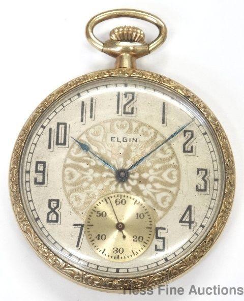 Genuine Elgin Antique 1920s Open Face Mens Pocket Watch to Fix #Elgin