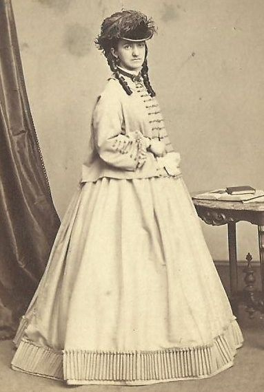 http://i.ebayimg.com/t/CDV-PHOTO-BEAUTIFUL-VICTORIAN-WOMAN-LARGE-HOOP-DRESS-FANCY-HAT-LONG-CURLS-CWE-/00/s/NTcwWDM4Mw==/$(KGrHqV,!gsE+O!cNM5fBP42ge!3WQ~~60_3.JPG----- gorgeous hat!!! Post war era picture, but look at how fashionable she is! She is also wearing a sacque style coat.