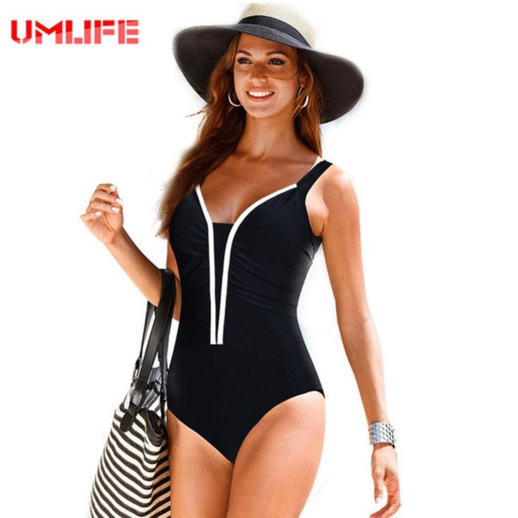 12.55$  Watch now - http://alirma.shopchina.info/1/go.php?t=32811340046 - UMLIFE 2017 Retro One Piece Swimsuit Women Plus Size Swimwear Bathing Suit Female Bodysuit Large Size Beachwear Swimming Suit  #bestbuy