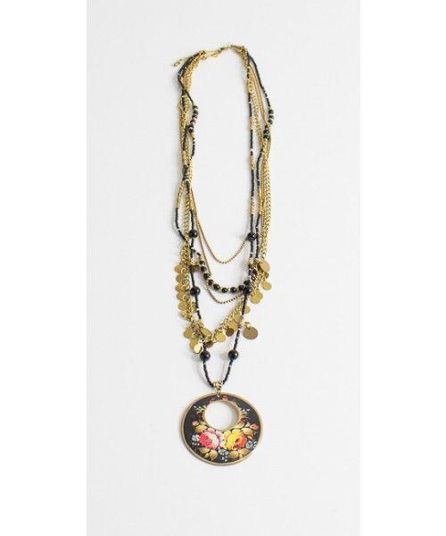 Collana lunga con ciondolo floreale, mini monete e sfere a contrasto - Vestopazzo