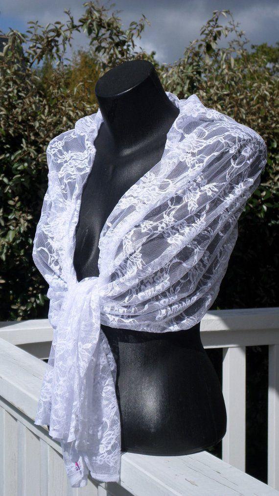 Etole écharpe foulard châle pour femme en dentelle blanche   agréable pour  mariage a836ea24a35