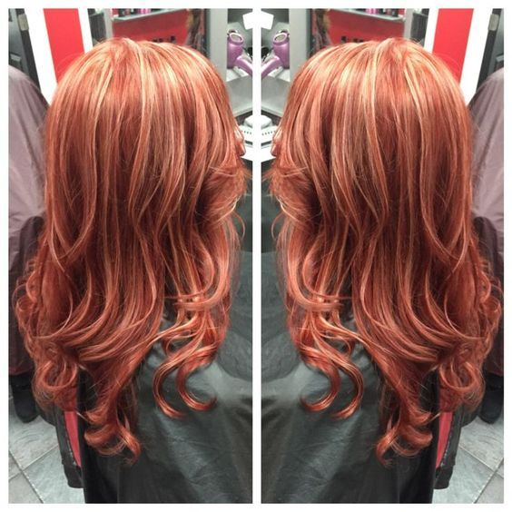 Highlighted Coppery Red · Highlighted Coppery Red. Stunning highlighted copper red and blonde hair ...