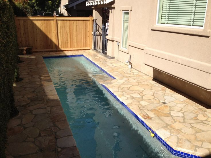 Really small pool.. Only takes up a side of the house & is easily fenced. Love it!