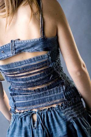 Recycled denim strap back dress