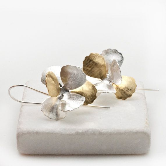 Flower Earrings Silver & Gold Flower Petals by PiscesAndFishes