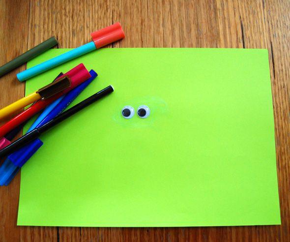 Laat een leuke creatieve tekening maken door alleen een paar oogjes op te plakken.
